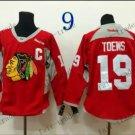 Chicago Blackhawks Practice #19 Janathan Toews Training Red Stitched Hockey Jerseys
