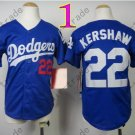 Dodgers Youth Jersey 22 Clayton Kershaw Blue Kid Size S M L XL