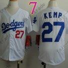 Dodgers Youth Jersey 27 Matt Kemp White Kid Size S M L XL