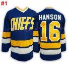 #16 Jack HANSON - Hanson brothers Charlestown CHIEFS Blue 2016 Hockey Jerseys Ice Winter Jersey