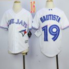 Top quanlity !Toronto Blue Jays Youth Jersey  #19Jose Bautista White All Stitched