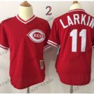 tampa bay rays #11 Barry Larkin 2015 Baseball Jersey Rugby Jerseys Authentic Stitched Bright Red
