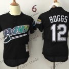 tampa bay rays #12 wade boggs 2015 Baseball Jersey Rugby Jerseys Authentic Stitched Black