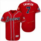 2017 Park Commemorative Patch Atlanta Braves Mens #7 Dansby Swanson Cool Base Jersey Red..