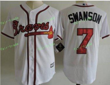 2017 Commemorative Patch Atlanta Braves Mens #7 Dansby Swanson White