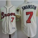 2017 Commemorative Patch Atlanta Braves Mens #7 Dansby Swanson Light Yellow