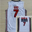 1992 USA Dream Team Larry Bird Jersey 7 Throwback Indiana State Sycamores College Jerseys White