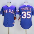 New Baseball 35 Cole Hamels Jersey Texas Rangers Cooperstown Flexbase Base Pullover Button Blue
