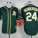 oakland athletics #24 rickey henderson 2015 Baseball Jersey  Rugby Jerseys Dark Green