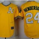 oakland athletics #24 rickey henderson 2015 Baseball Jersey  Rugby Jerseys Yellow Style 1