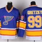 New York Rangers 99 Wayne Gretzky Jerseys Hockey St.Louis Blues Los Angeles Kings Vintage Blue S1