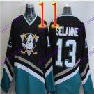 Cord Anaheim Ducks #13 Teemu Selanne Black Hockey Jersey Stitched