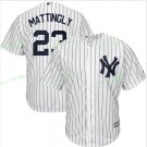 New York Yankees Baseball Jerseys 23 Don Mattingly  Ruth Retirement Patch White