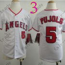Youth Los Angeles Angels Jersey 5# Albert Pujols White Kid