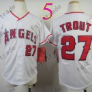 Youth Los Angeles Angels Jersey 27# Mike Trout White Kid