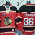 Chicago Blackhawks #86 teuvo teravainen Red Hockey Hooded Stitched Sweatshirt Jerseys
