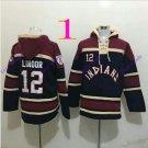 cleveland indians 12 francisco lindor 2016 Baseball Hooded Stitched Old Time Sweatshirt Jerseys