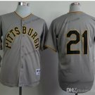 Pittsburgh Pirates 21 Roberto Clemente 2015 Baseball Gray Rugby Jerseys Authentic Stitched  Style 2