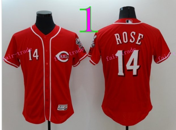 Cincinnati Reds 14 Pete Rose Flexbase Vintage Throwback Pullover Red 1976 Cooperstown Jersey Style 1