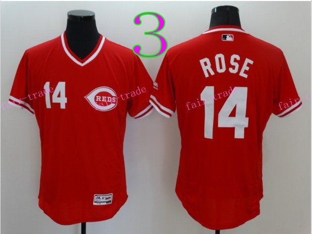 Cincinnati Reds 14 Pete Rose Flexbase Vintage Throwback Pullover Red 1976 Cooperstown Jersey Style 2