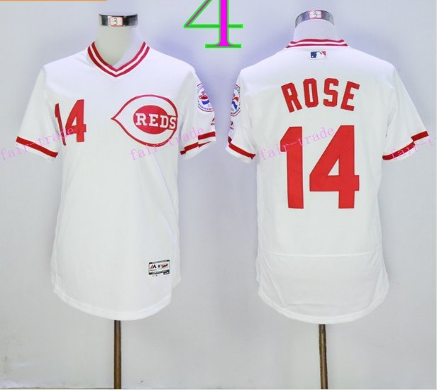 Cincinnati Reds 14 Pete Rose Flexbase Vintage Throwback Pullover White 1976 Cooperstown Jersey 2