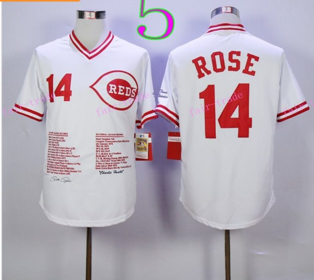 Cincinnati Reds 14 Pete Rose Flexbase Vintage Throwback Pullover White 1976 Cooperstown Jersey 3