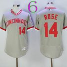 Cincinnati Reds 14 Pete Rose Flexbase Vintage Throwback Pullover Gray 1976 Cooperstown Jersey 1