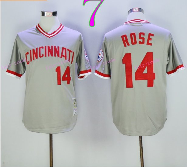 Cincinnati Reds 14 Pete Rose Flexbase Vintage Throwback Pullover Gray 1976 Cooperstown Jersey 2