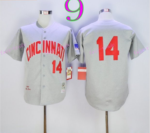 Cincinnati Reds 14 Pete Rose Flexbase Vintage Throwback Pullover Gray 1976 Cooperstown Jersey 3