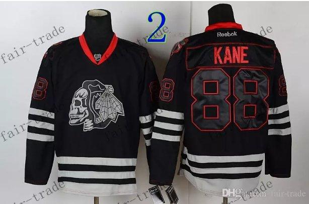 Chicago Blackhawks #88 Patrick Kane Black Ice And Skull Stitched Hockey Jerseys Style 2