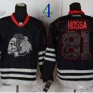 Chicago Blackhawks #81 Marian Hossa Black Ice And Skull Stitched Hockey Jerseys Style 2