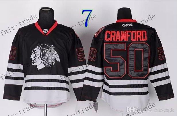 Chicago Blackhawks #50 Corey Crawford Black Ice And Skull Stitched Hockey Jerseys Style 1