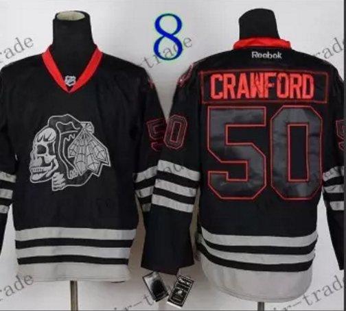 Chicago Blackhawks #50 Corey Crawford Black Ice And Skull Stitched Hockey Jerseys Style 2