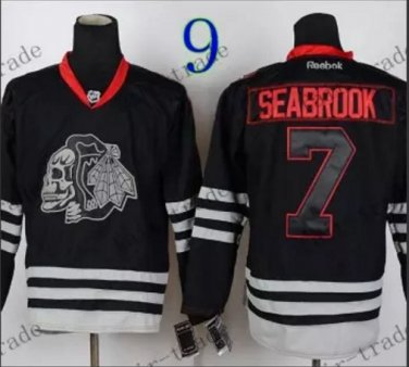 Chicago Blackhawks #7 Brent Seabrook Black Ice And Skull Stitched Hockey Jerseys Style 2