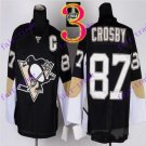 Stitched Pittsburgh Penguins #87 Sidney Crosby Black Hockey Jerseys Ice Jersey Style 2