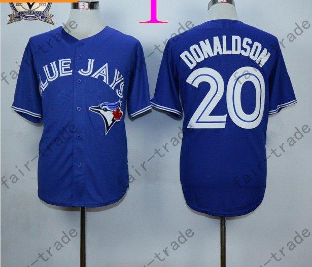 Toronto Blue Jays #20 Josh Donaldson Blue 40th Anniversary Patch Stitched Jersey Style 1