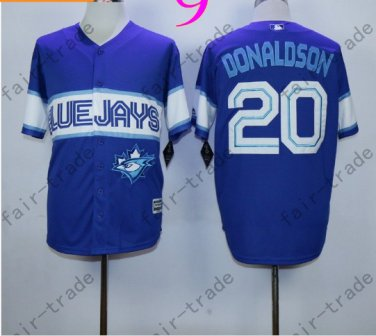 Toronto Blue Jays #20 Josh Donaldson Blue 40th Anniversary Patch Stitched Jersey Style 2