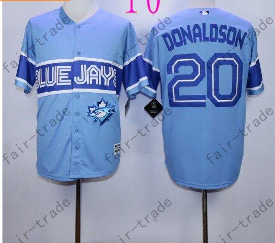 Toronto Blue Jays #20 Josh Donaldson Blue 40th Anniversary Patch Stitched Jersey Style 3