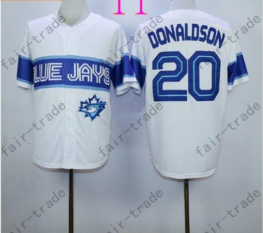 Toronto Blue Jays #20 Josh Donaldson White 40th Anniversary Patch Stitched Jersey Style 4