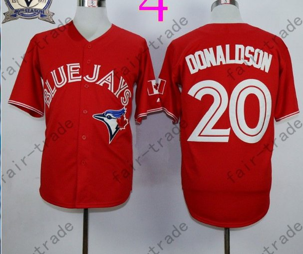 Toronto Blue Jays #20 Josh Donaldson Red 40th Anniversary Patch Stitched Jersey