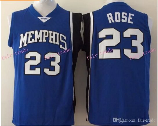 Derrick Rose NCAA College Jersey Tigers Blue Stitched