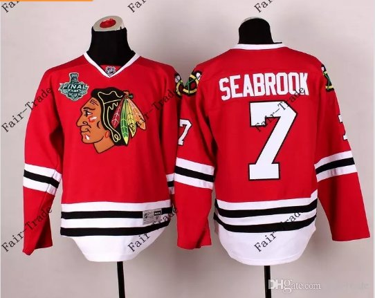 #7 brent seabrook Blackhawks jersey red  Ice Hockey Jerseys 2015 Final Stanley Cup Patch