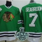 #7 brent seabrook Blackhawks jersey Green Ice Hockey Jerseys 2015 Final Stanley Cup Patch