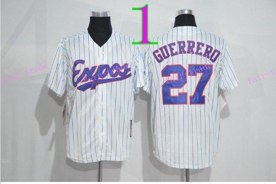Montreal Expos Baseball 27 Vladimir Guerrero Jersey 1982 White Pinstripe Retro Style 1
