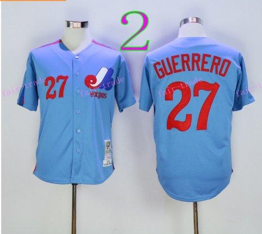 Montreal Expos Baseball 27 Vladimir Guerrero Jersey 1982 Blue Pinstripe Retro