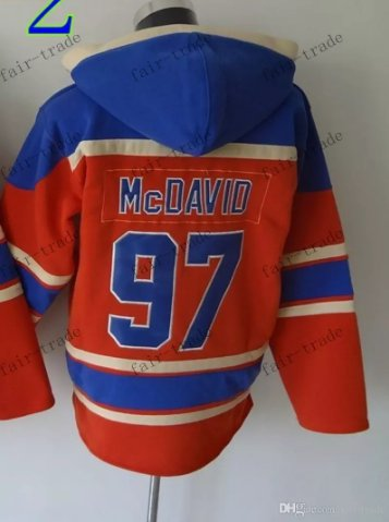 Edmonton #97 Connor Mcdavid Red Hockey Hooded Stitched Old Time Hoodies Sweatshirt Jerseys