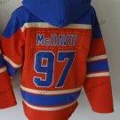 Edmonton #97 Connor Mcdavid Red Hockey Hooded Stitched Old Time Hoodies Sweatshirt Jerseys