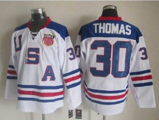 2010 Team USA Hockey Jersey Ice OLYMPIC Blue  #30 Thomas