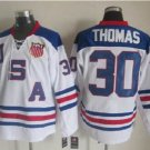 2010 Team USA Hockey Jersey Ice OLYMPIC Blue  #30 Thomas