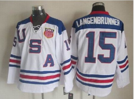 2010 Team USA Hockey Jersey Ice OLYMPIC Blue  15 Langenbrunner